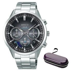 (ケースセット)(国内正規品)(セイコー)SEIKO 腕時計 AGAD095 (ワイアード)WIRED メンズ クロノグラフ&腕時計ケース1本用 パープル(ステンレスバンド ソーラー 多針アナログ)