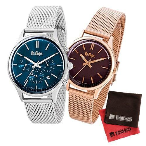 【ペア箱入りセット】【正規輸入品】(リークーパー)Lee Cooper 腕時計 LC6294.390 メンズ・LC6301.480 レディース&クロス2枚(ステンレスバンド クオーツ アナログ ペアウォッチ)