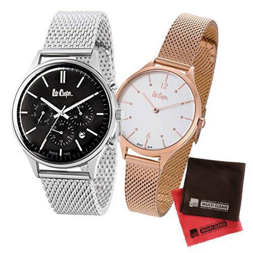 【ペア箱入りセット】【正規輸入品】(リークーパー)Lee Cooper 腕時計 LC6294.350 メンズ・LC6339.430 レディース&クロス2枚(ステンレスバンド クオーツ アナログ ペアウォッチ)