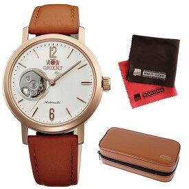 (時計ケース・クロスセット)(国内正規品)(オリエント)ORIENT 腕時計 WV0461DB (スタイリッシュ&スマート)STYLISH AND SMART SEMI SKELETON-C セミスケルトン(機械式 自動巻き ナチュラルクリーム ユニセックス アナログ 革バンド)