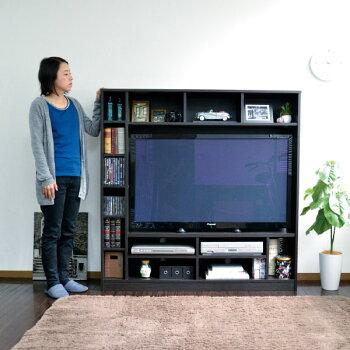 テレビ台ハイタイプ壁面家具リビング壁面収納50インチ対応TV台テレビラックゲート型AVボード135cm幅J-SupplyLtd.(ジェイサプライ)