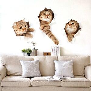 ウォールステッカー 壁破り 3匹のいたずらネコちゃん 猫好きがたまらない  トリックアート だまし絵 シール 壁画 キッズ 保育園 ベビールーム 装飾 ステッカー デコレー