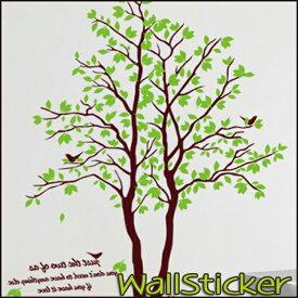 ウォールステッカー 木 緑 鳥 おしゃれ 壁紙 シール 2枚セット ( 特大 大 LL サイズ ) 壁シール 壁紙 北欧 木樹木と鳥、英文がさわやかなステッカー 送料無料