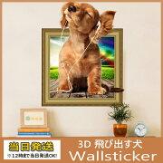 ウォールステッカー3D飛び出す犬剥がせるシール雰囲気変貌犬ちゃんポスター動物写真アニマル柄な壁紙シール癒し系装飾雑貨DIY窓ガラス剥がせる賃貸部屋バスルーム
