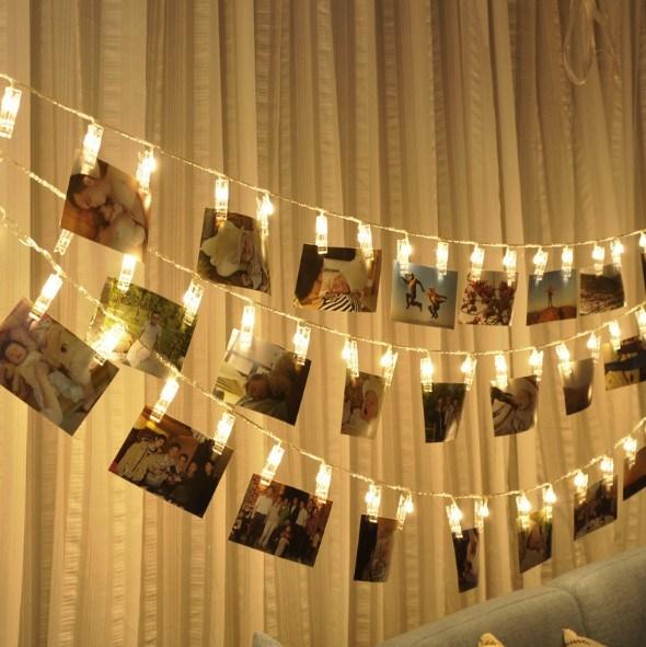 送料無料 LEDストリングライト 20LED写真/絵クリップ DIY吊り下げる飾り 3M イルミネーションライト 電池駆動式 クリスマス/新年/結婚式/誕生日/パーティーインテリア 雑貨 【nlife_d19】