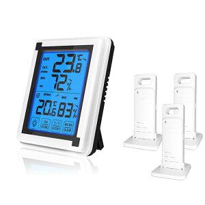デジタル温湿度計 外気温度計 ワイヤレス 温度湿度計 室内屋外兼用&三個子機センサー 高精度 LCD大画面 バックライト機能付き 最高最低温湿度表示 置き掛け両用タイプ マグネット付 温室 ペ