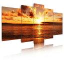 送料無料 絵画 海 綺麗な風景画、海辺の夕日 インテリア 絵画 絵のある暮らしモダンアートパネルインテリア  壁…