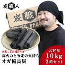 【3セット】炭職人 オガ炭 30kg (10kg×3箱) オガ備長炭 高火力 長時間燃焼 煙少 白炭 オガ備長炭 白炭 高品質オガ…