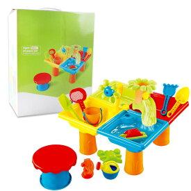 25個セット 方形のテーブル 多機能ビーチテーブルセット 子供 砂遊び お砂場セット 子供 ビーチ おもちゃ テーブル ツールセット 水遊び ビーチ 室内玩具 子ども 子供 おもちゃ 玩具 水遊び アウトドア ウォーターテーブル 椅子
