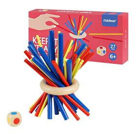 木製バランスゲーム Homraku スティッキー 立体パズル 棒ブロック テーブルゲーム 子供も大人も老若男女楽しめる おもちゃ 3カラー 27PCS (骰子1個付き)