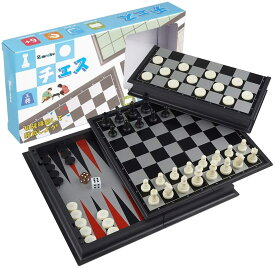チェス/バックギャモン/チェッカー セットマグネット付き駒 棋盤 おもちゃ 駒の動かし方説明書付き コンパクト旅行ゲーム テーブルゲーム 子供も大人も6歳以上楽しめる (3in1)