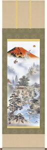 掛け軸-赤富士四神万全図/有馬 荘園(小さめサイズ尺三紙箱・床の間に開運用掛軸縁起画掛軸をどうぞ) モダンに掛物をつるす