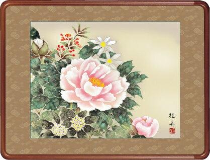 隅丸和額-四季花/長江 桂舟(欄間やなげしに花鳥画隅丸和額をどうぞ)