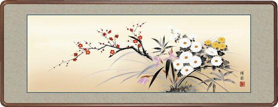 隅丸和額-四季花/山本 祥園(欄間やなげしに花鳥画隅丸和額をどうぞ)