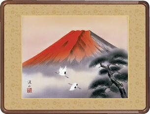 隅丸和額-赤富士飛鶴/伊藤 渓山(欄間やなげしに山水画隅丸和額をどうぞ)