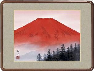 隅丸和額-赤富士/小川 伯堂(欄間やなげしに山水画隅丸和額をどうぞ)