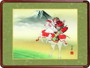 隅丸和額-武者と富士/野川秀華(欄間やなげしに端午の節句画隅丸和額をどうぞ)
