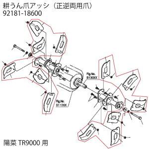 クボタ耕運機オプション 陽菜 TR9000用 耕うん爪アッシ 92181-18600