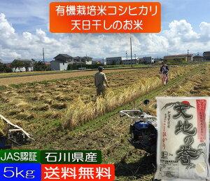 お米 5kg 送料無料 無農薬 コシヒカリ 天日干し 有機米 自然農法 白米 玄米 5分づき精米 対応 「天地の誉」  こしひかり 令和二年産 新米 EM 農法 《JAS》[無農薬・有機栽培米・オーガニック