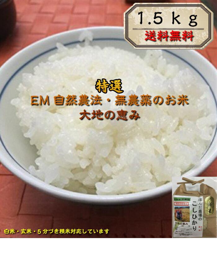 お米 1.5kg 【送料無料】30年産 新米・EM農法 無農薬栽培米 こしひかり「大地の恵み」白米 玄米 5分づき精米からお選びください。