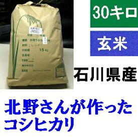送料無料 「北野さんのこしひかり」玄米 30kg・令和元年産 新米 コシヒカリ・石川県産
