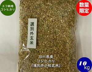 送料無料 令和2年産 エコ栽培米コシヒカリ「選別外小粒玄米」 10kg 宅配便