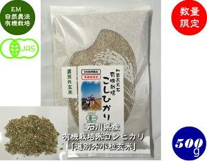 送料無料 令和2年産 JAS認定・有機栽培米コシヒカリ「選別外小粒玄米」 500g メール便