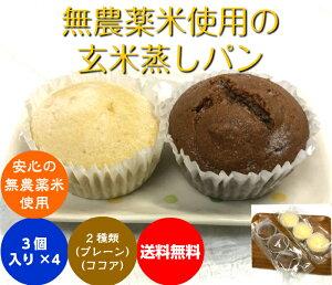 (送料無料】 有機・無農薬の玄米粉で作った蒸しパン3個入り4SET 合計12個(米粉)冷凍発送