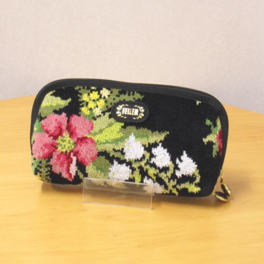ポーチ レディース ブランド FEILER(フェイラー) コルティナ 便利ポーチ 黒(ブラック) おしゃれなシェニール織り花柄の横長ポーチ カード入れやジップポケット付で財布(さいふ)代わりにも 誕生日のプレゼント・贈り物に