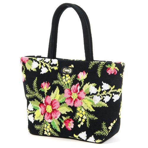 トートバッグ 横長 レディース(婦人) ブランド FEILER(フェイラー) 花柄 『コルティナ バッグ 黒(ブラック)』 シェニール織りの手提げ鞄(かばん) 母の日や誕生日など女性へのプレゼントに あす楽対応