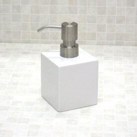 ハンドソープディスペンサー 270ml 陶器 ハンドソープ用(液体石けん用) 『ソープボトル ホワイトキューブ』洗面所やキッチンのに!ハンドソープの詰め替えボトル。おしゃれで清潔、シンプルな白のソープディスペンサー。