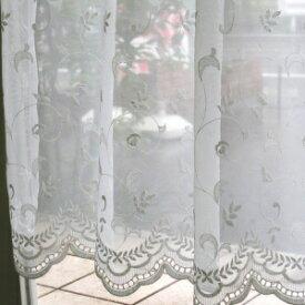 カフェカーテン(小窓用カーテン) レース 60cm丈 カフェカーテン オーダー(切り売り) EF-471 小窓をおしゃれに演出してくれる 上品な刺繍のレースのオーダーカフェカーテン [メール便可/宅コン可]