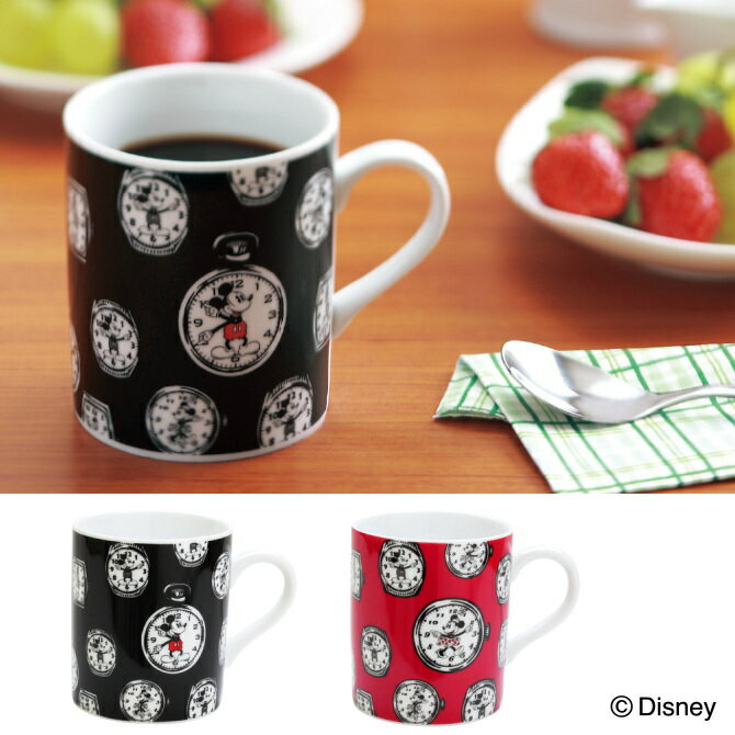 マグカップ 食器 ディズニー ウォッチマグ ミッキー(ブラック/黒) ミニー(レッド/赤) ホワイトデー お返し 雑貨