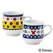 ディズニー/Disney食器ペアマグセット『ミッキーポーリッシュ』ポーリッシュポタリー風のデザインにミッキーのプラスしたおしゃれでかわいい食器セットマグカップがペアセット新築祝い,結婚祝い,内祝いのギフトにあす楽対応