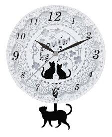 掛け時計/壁掛け時計 振り子『黒猫 ガラス振り子時計』かわいい 猫 ネコ 子供部屋