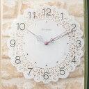 掛け時計/壁掛け時計 レース柄のおしゃれでかわいい 音がしない静かな連続秒針『ガラスレースクロック』 ホワイト(白)…