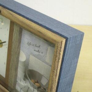フォトフレーム多面アナログ時計付きラドンナAVANTIサービススクエアサイズ×2おしゃれな木製写真立て置き時計