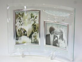 フォトフレーム 写真立て 結婚祝い おしゃれなウェディングフォトフレーム『ジュエリーチャーム ガラスフォトフレーム 2ウィンド』 結婚祝いのギフトプレゼントにガラス製フォトスタンド