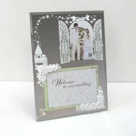 フォトフレーム 写真立て 置き・壁掛け両用 ウェディング 結婚祝い エターナリーローズ ホワイト 鏡のフレームに薔薇のオーナメントがおしゃれな写真たて L判と2L(キャビネ)の2枚 ウェルカムボードや結婚祝いのギフト(プレゼント)に最適のフォトフレーム