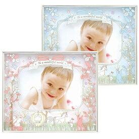 フォトフレーム 写真立て ベビー L判・ハガキサイズ 2サイズ対応 出産祝い アイネ [ピンク・ブルー] ガラスとペーパーの2層で、奥行きのある写真たて 赤ちゃんの写真にぴったりのかわいいフォトフレームです サービスサイズとポストカードサイズ対応 出産祝いのギフトに