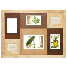 フォトフレーム 写真立て 壁掛け 6枚(複数) ラドンナ AVANTI 木製 フォトフレーム ナチュラルな木製 写真たて 2L判(キャビネ)が1枚,ポストカード(ハガキサイズ)が3枚,ミニサイズが2枚の6枚飾れる多面のフォトフレーム 結婚祝い,出産祝いなどギフトに最適のフォトフレーム