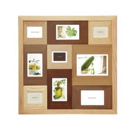 フォトフレーム 写真立て 壁掛け 9枚(複数) ラドンナ AVANTI 木製 フォトフレーム ナチュラルな木製 写真たて 2L判(キャビネ)が1枚,ポストカード(ハガキサイズ)が4枚,ミニサイズが4枚の9枚飾れる多面のフォトフレーム 結婚祝い,出産祝いなどギフトに最適のフォトフレーム