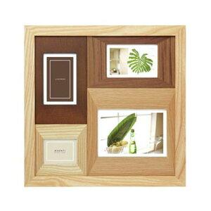フォトフレーム 写真立て 壁掛け/置き兼用 4枚(複数) ラドンナ AVANTI 木製 フォトフレーム ナチュラルな木製 写真たて 2L判(キャビネ)が1枚,ポストカード(ハガキサイズ)が2枚,ミニサイズが1枚飾