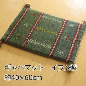 ギャベ ギャッベ 玄関マット 40×60cm イラン 室内 ウール 手織りマット グリーン