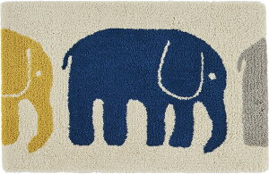玄関マット 室内 北欧 かわいい 洗える 45×70cm フィンレイソン『ELEFANTTI/エレファンティ』 ゾウ 動物 イエロー グレー ネイビー