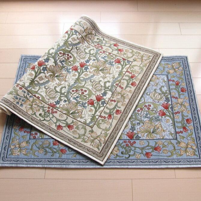 玄関マット 室内 67×120 ゴブラン織り ブランド ウィリアム・モリス ゴールデンリリーマイナー