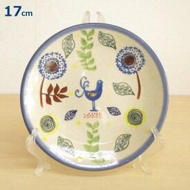 ポーリッシュポタリー プレート 17cm パン皿 ケーキ皿 花柄 鳥 植物陶器 ポーランド食器 ボレスワヴィエツ WIZA社