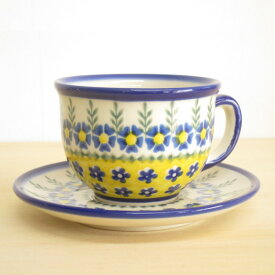 ポーリッシュポタリー カップ&ソーサー 花柄 陶器 ポーランド食器 ボレスワヴィエツ VENA社