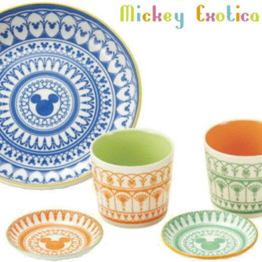 食器セット ディズニー ティータイムセット ミッキーエキゾチカ (マルチカップ×2 10cmプレート×2 21.5cm盛鉢×1) 日本製