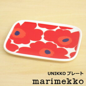 マリメッコ 皿 スクエア 北欧食器 『ウニッコ スクエアプレート 15×12cm』 四角 レッド 北欧 食器 花柄 おしゃれ かわいい